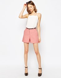 Asos Tailored Linen Short With Belt Cosmetic Pink