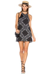 Michael Lauren Scotty High Neck Mini Dress Black