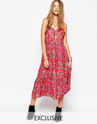 Reclaimed Vintage Cami Dress With Lace Back Detail In Paisley Floral Print Red