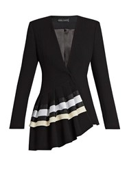 Carl Kapp Fan Asymmetric Wool Crepe Jacket Black White