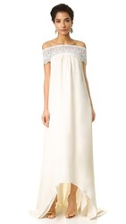 Self Portrait Off Shoulder Gown Off White
