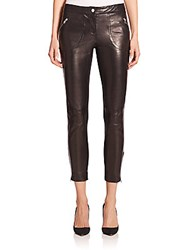 Red Valentino Leather Stretch Paneled Leggings Black