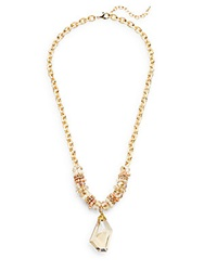 Saks Fifth Avenue Beaded Chain Pendant Necklace Natural