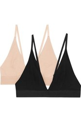 Baserange Set Of Two Stretch Bamboo Triangle Bras Black