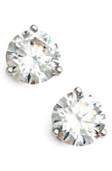 Nordstrom Women's Precious Metal Plated 2Ct Tw Cubic Zirconia Earrings Clear Cz Sterling Platinum