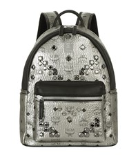 Mcm Small Studded Stark Backpack Female Silver