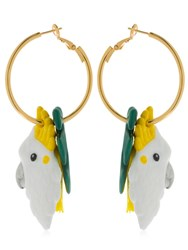 Nach Palm And Cockatoo Pendant Earrings Multicolor