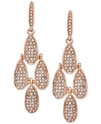 Inc International Concepts Rose Gold Tone Crystal Pave Small Teardrop Chandelier Earrings