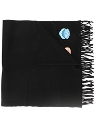 Kenzo Fringed Patch Scarf Black