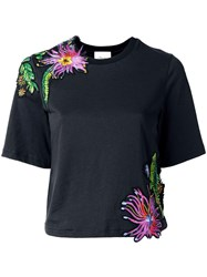 3.1 Phillip Lim Floral Embroidered T Shirt Black