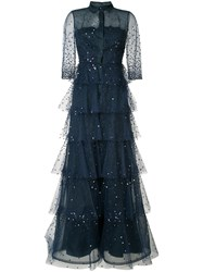 Carolina Herrera Embroidered Tulle Trench Gown Women Silk Nylon 8 Blue