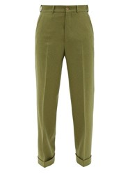 Gucci Speckled Wide Leg Wool Blend Trousers Green