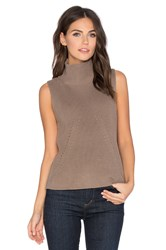 525 America Turtleneck Sleeveless Sweater Taupe