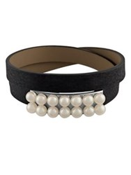 Majorica New Isla 6Mm White Pearl And Leather Bracelet Black White