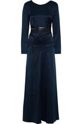 Sonia Rykiel Woman Open Back Leather Trimmed Satin Crepe Maxi Dress Navy