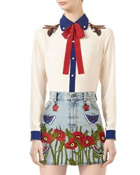 Gucci Embroidered Silk Shirt Alabaster Red Blue
