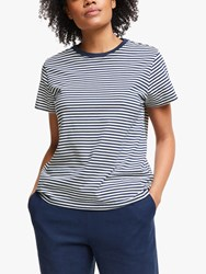 John Lewis Collection Weekend By Stripe Cotton T Shirt Navy Ivory