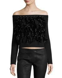 Haute Hippie Cropped Feather Fringe Off The Shoulder Sweater Black