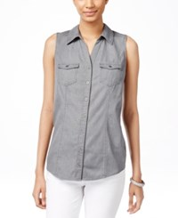 Styleandco. Style And Co. Petite Sleeveless Denim Shirt Only At Macy's Grey Wash