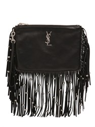 Saint Laurent Monogram Studded Fringed Leather Pouch