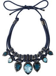 Lanvin Vintage Cut Glass Embellished Necklace Blue
