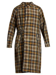 Kolor Checked Crinkle Noil Trench Coat Yellow Multi