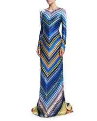 Naeem Khan Long Sleeve Chevron Striped Silk Gown Blue Multi Size 16