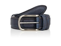 Barneys New York Men's Grained Leather Belt Navy