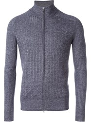 Loro Piana Cable Knit Zip Cardigan Blue