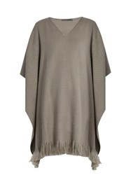 Denis Colomb Classic Fringed Cashmere Poncho Beige