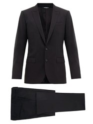 Dolce And Gabbana Martini Single Breasted Two Piece Virgin Wool Suit Black