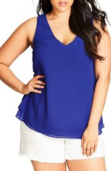 City Chic Plus Size Women's Date Night Top Lagoon