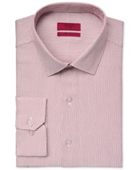 Alfani Red Fitted Performance Wine Micro Neat Textured Solid Dress Shirt Only At Macy's