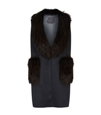 Lilly E Violetta Cashmere Fox Fur Trim Gilet Grey