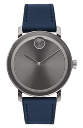 Movado Bold Leather Strap Watch 40Mm