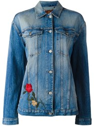 7 For All Mankind Embroidered Denim Jacket Blue