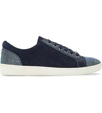 Dune Edgware Snake Embossed Suede Trainers Navy Reptile