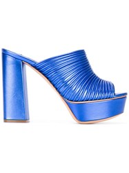 Casadei Ribbed Platform Mules Women Leather Kid Leather 39.5 Blue