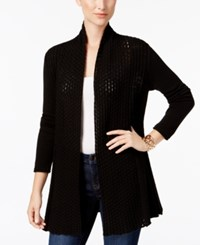 Ny Collection Petite Open Front Pointelle Cardigan Black