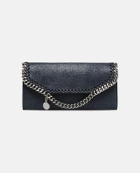Stella Mccartney Midnight Navy Falabella Shaggy Deer Continental Wallet