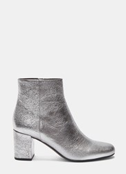 Saint Laurent Metallic Block Heeled Ankle Boots Silver