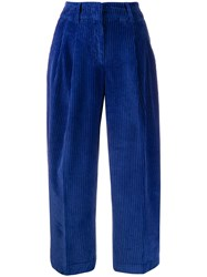 Pt01 Cropped Wide Leg Trousers Blue