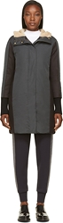 Marni Dark Grey Down Padded Shearling Hood Parka