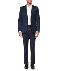 Versace Printed Two Piece Wool Suit Blue
