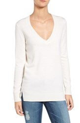 Ag Jeans Women's 'Luna' V Neck Merino And Cashmere Tunic Sweater Powdered White