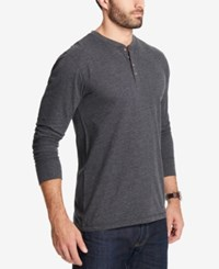 Weatherproof Vintage Men's Heathered Henley Black Heat