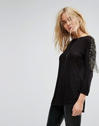 Bolongaro Trevor Embellished Military Tee Black