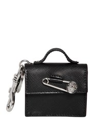 Versus Safety Pin Saffiano Bag Logo Charm