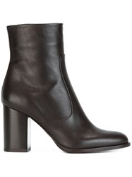 Veronique Branquinho Chunky Heel Ankle Boots Brown