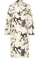 Adam By Adam Lippes Oversized Printed Wool Coat Ivory
